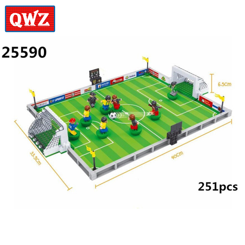 QWZ Model Building Bricks Kits Compatible Legoings City Football 251pcs 3D Blocks Educational Toys Hobbies For Kids Gifts 251pcs model building kits compatible with legoing city football 3d building blocks bricks educational toys hobbies for children