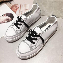 Women Fashion Sneakers 2018 White Casual Platform Shoes Women Vulcanized Shoes Lace Up Sneakers Leather Flat Shoes female M283 weideng casual women genuine leather flats vulcanized shoes sneakers schoolfashion white lace up slip on women shoes summer 2018
