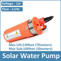 Dc Solar Submersible Pump price,12V 24V 6L/MIN Lift 70meter diaphragm dc pump for 30m deep well free shipping