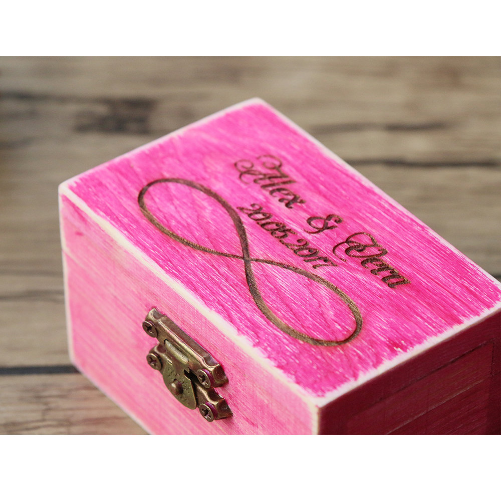 4 Colors Vintage Rustic Wedding Ring Box Bearer Box Wood Jewelry ...