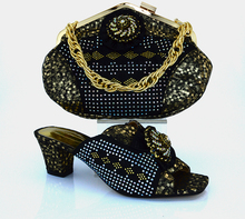 African Style Ladies Shoe And Bag Set Italian Fashion Slipper Shoes And Bags Set For Party Free Shipping Black Color MM1011