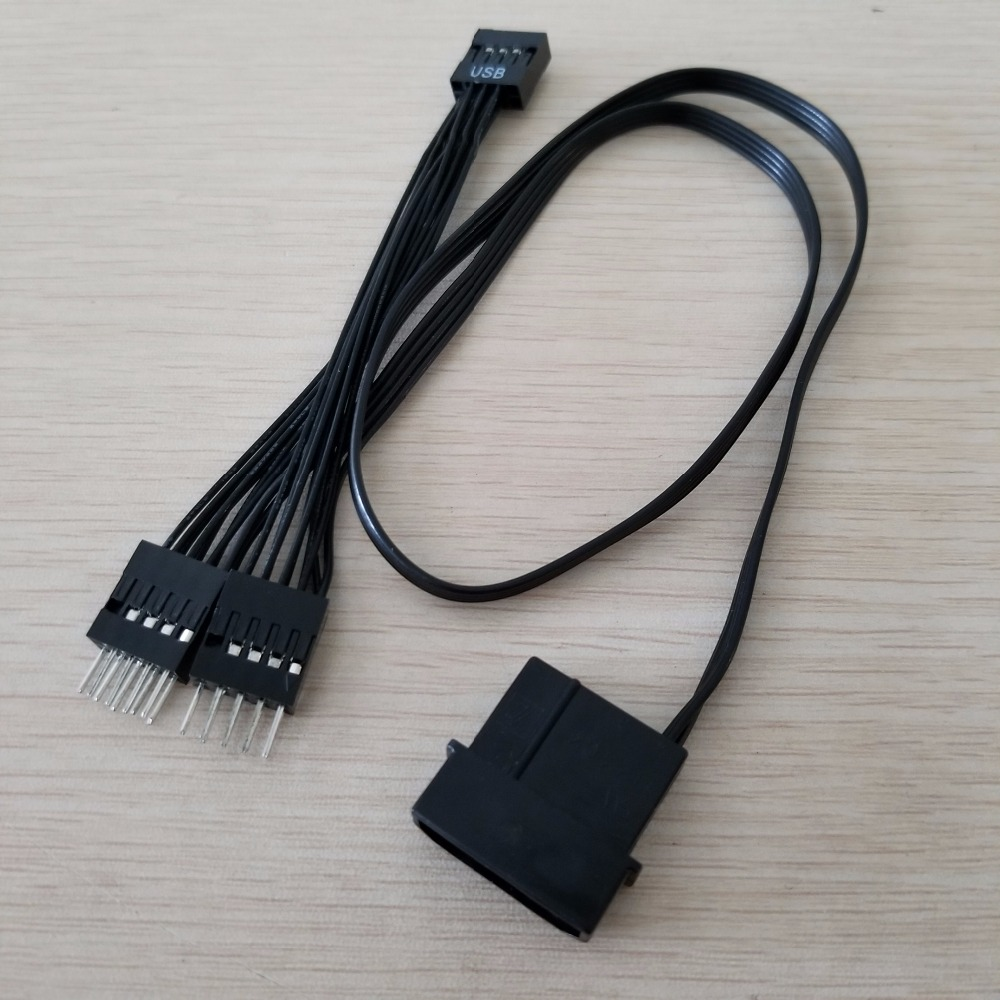 Motherboard Mainboard USB 9Pin Dupont Data Extension Power Cable Female To Male Splitter Type Black 50cm+10cm