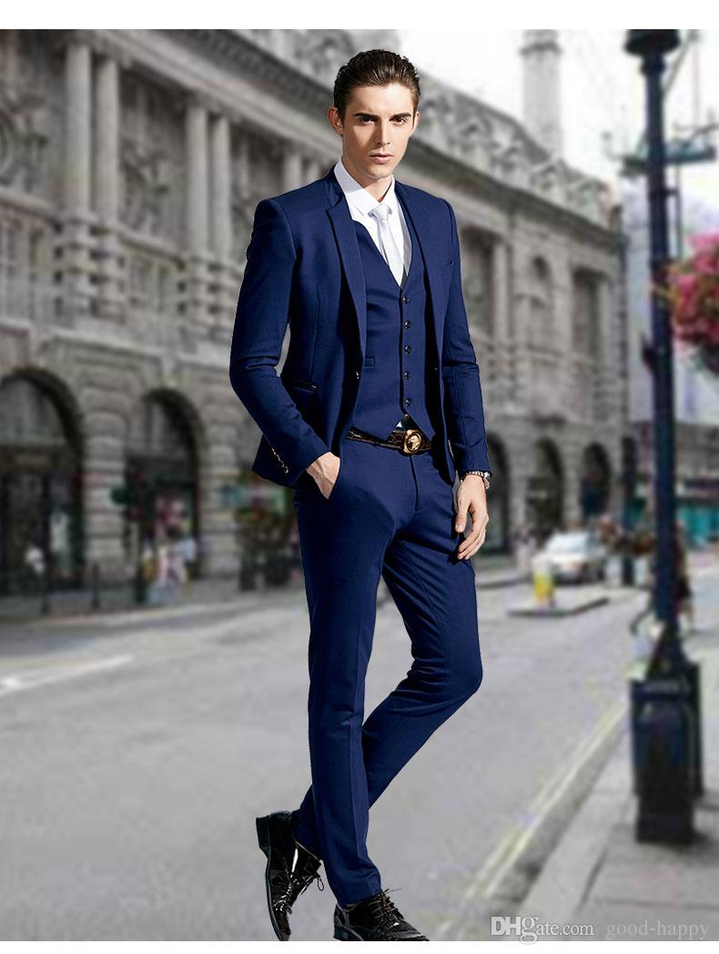 Stylish Slim Fit Blue Groom Tuxedos Stand Colar One Button Men\'s ...