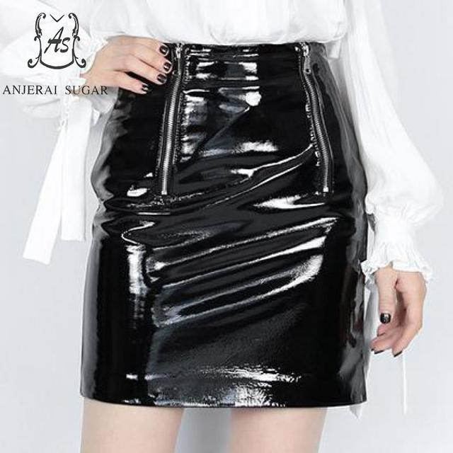 Genuine leather skirts women black short sexy slim zipper Package hip real sheepskin OL female A line mini Patent leather skirts