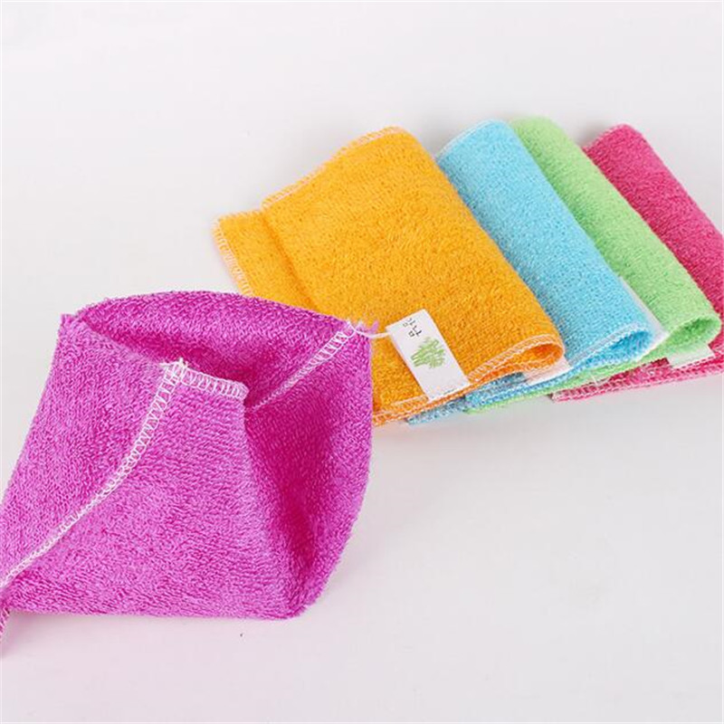 100P lot double thick bamboo fiber bamboo fiber cleaning cloth rag stick oil 16cmX18cm Kitchen cloths