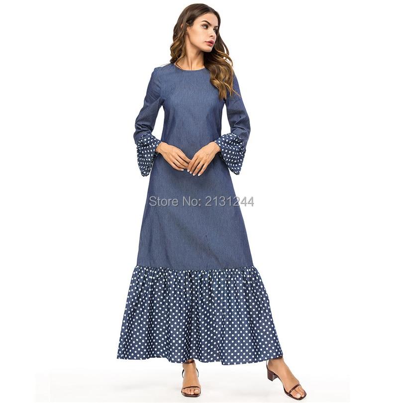 a8bf96f75c Detail Feedback Questions about abaya 7364 Fashion Polka Dot Splicing Large  Sleeve Long Sleeve Dress Middle Eastern Muslim Robe islamic clothing  KAIYISHOW ...