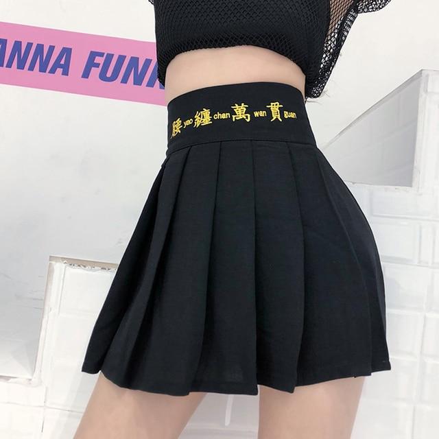 Harajuku Style Black Short Skirts Pleated Japanese Gothic Street Elastic High Waist Female Fashion Punk Casual Mini Skirts 1
