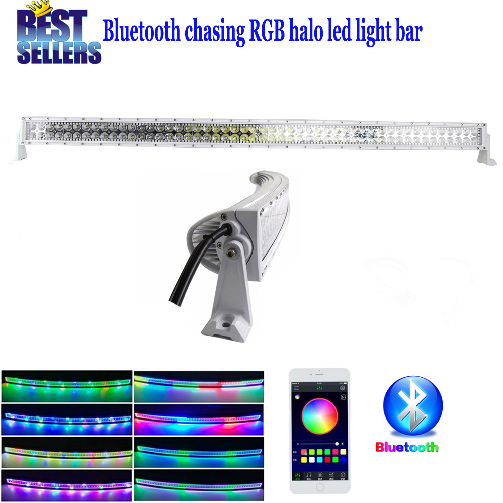 Nicoko Curved 32180W LED Light Bar With Chaser RGB Halo By Bluetooth APP Control with Mounting Brackets for Truck ATV UTV SUV nicoko 50288w curved led light bar 2pc led work light with rgb chasing halo fortoyota pickup truck led work light bar 12v 24v