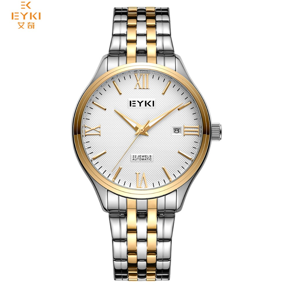 EYKI Brand Men Watches skeleton Stainless Steel Casual Mechanical Wristwatch Self-wind Automatic Watch 2018 Relogio Masculino ik brand fashion men watches silver full stainless steel automatic self wind watch men multi function clock relogio masculino