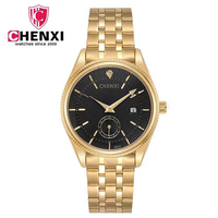 CHENXI Gold Watch Men Watches Top Brand Luxury Famous Wristwatch Male Clock Golden Quartz Wrist Watch