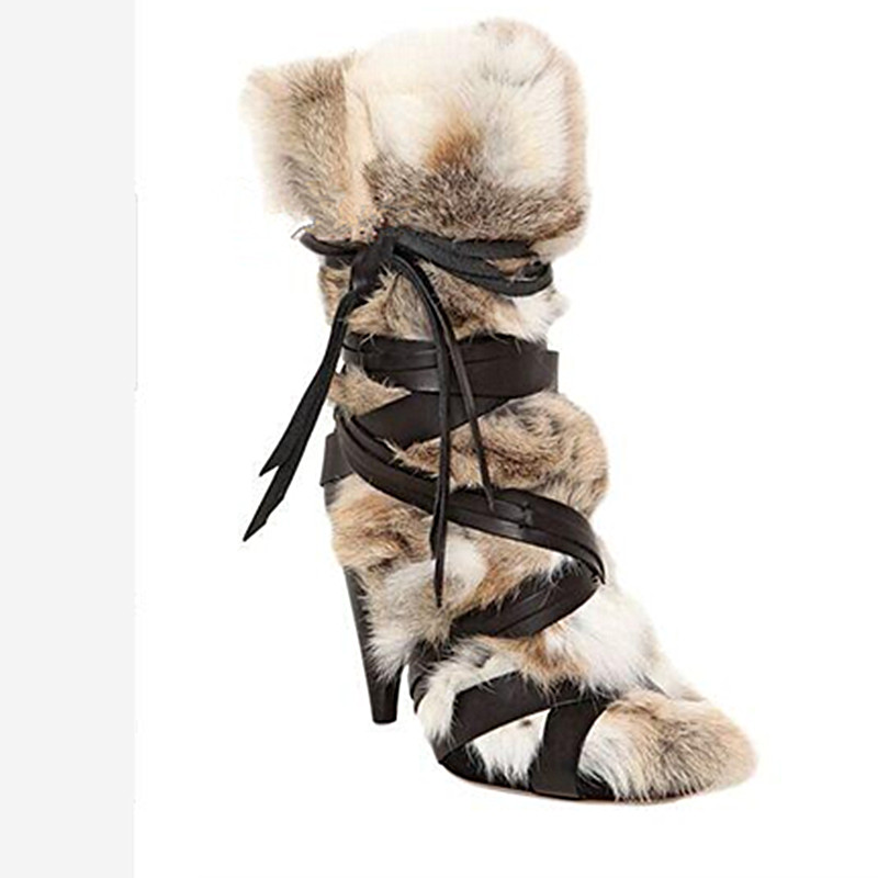 2016 New Arrivals Women's Shoes Tapered Fur Boots Winter Warm Boots Fashion Ankle Botas Sexy Spike Heels Boots Botas Mujer