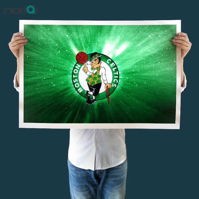 Canvas Print NBA Boston Celtics Logo Flag Poster Basketball Sports Painting Wall Art Picture Home