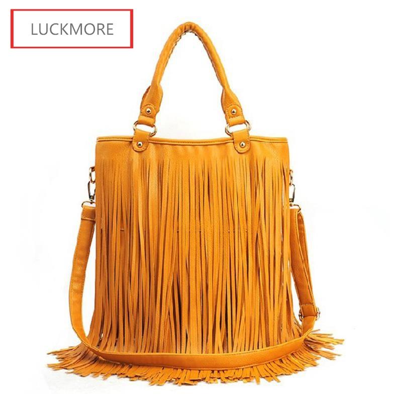 2016 Hot Women Summer Suede Leather Bag Fringe Tassel Handbags Vintage  Clutches Messenger Female Shoulder Crossbody Bags Ladies-in Top-Handle Bags  from ... 03cef800515f2