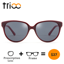 TRIOO Acetate Cat Eye Computer Glasses Women Driving Prescription Sun Eye glasses Fashion Graduated Diopter Black Oculos de grau