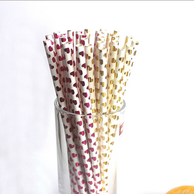 Wholesale 100pcs Gold/Purple Heart Paper Straws / Christmas Drinking Straw Wedding Valentine Heart Love Party Holiday Supplies
