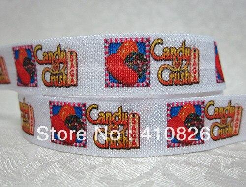 Q& N лента оптом/OEM 5/8 дюймов 715009 конфеты в сложенном состоянии на голову эластичная повязка для головы с враг 50yds/рулон