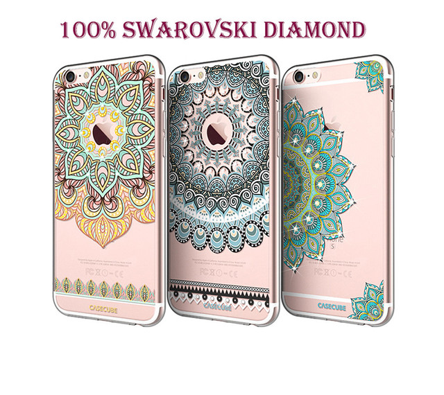 quality design c1f14 976df US $13.59  Real Swarovski Crystal Newest Transparent Back Soft IMD TPU  Phone Case for iPhone 6/6s/6 Plus/6s Plus Free Gift Phone Film TC017 on ...