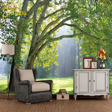 home improvement custom  photo wallpaper three-dimensional forest scenery living room background  mural fabric wallpaper