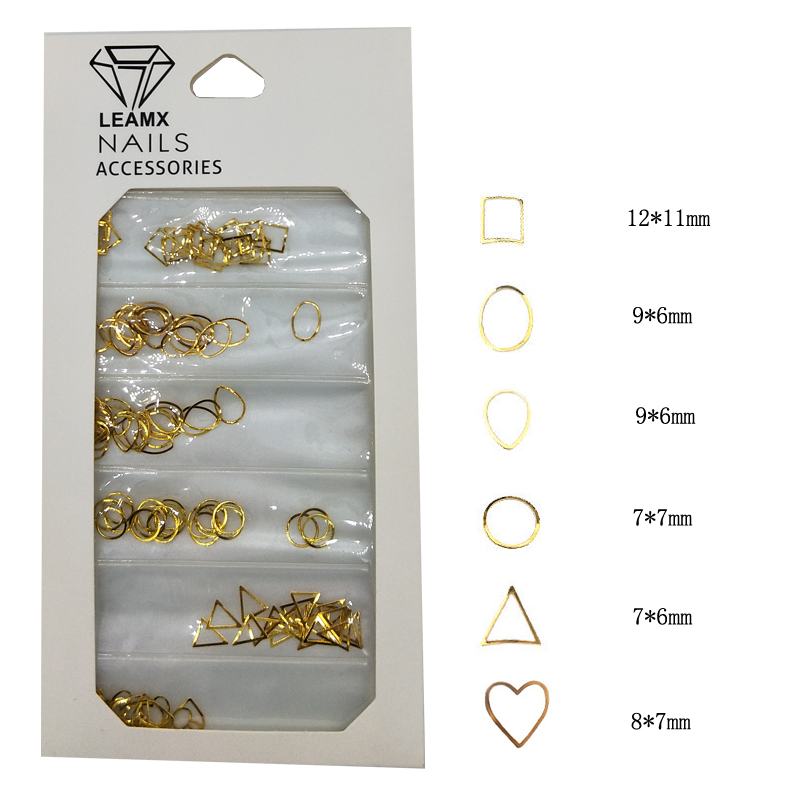 LEAMX Mixed Nail Rivets Gold Round Metal 3D Art Decoration Accessory Stud Rivet DIY Charms Manicure Tools 6 Types