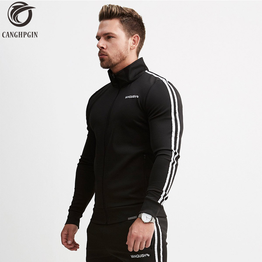 Brand Running Jacket Men Sports Fitness Long Sleeves Hooded Sweatshirts Striped Zipper Hoodies Men Gym Training Run Coat Jackets slimming drawstring hooded stripes pattern badge design color block long sleeves flocky hoodie for men