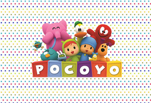 Image 2 - Sensfun Photography Backdrop Cartoon Characters Pocoyo Birthday Party Baby Shower Children Photo Backgrounds Vinyl Polyester