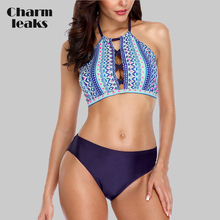 Charmleaks Women Bikini Set High Neck Cross Swimwear Retro Wave Printed Swimsuit Sexy Bikini Bathing Suit Beachwear все цены