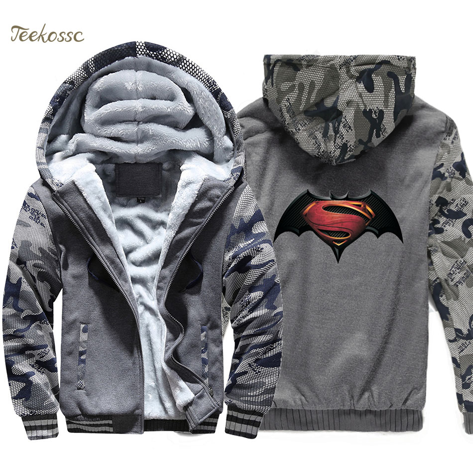 Batman Hoodie Men Super Hero Print Hooded Sweatshirt Coat 2018 Winter Warm Fleece Thick High Quality Jacket Harajuku Sportswear