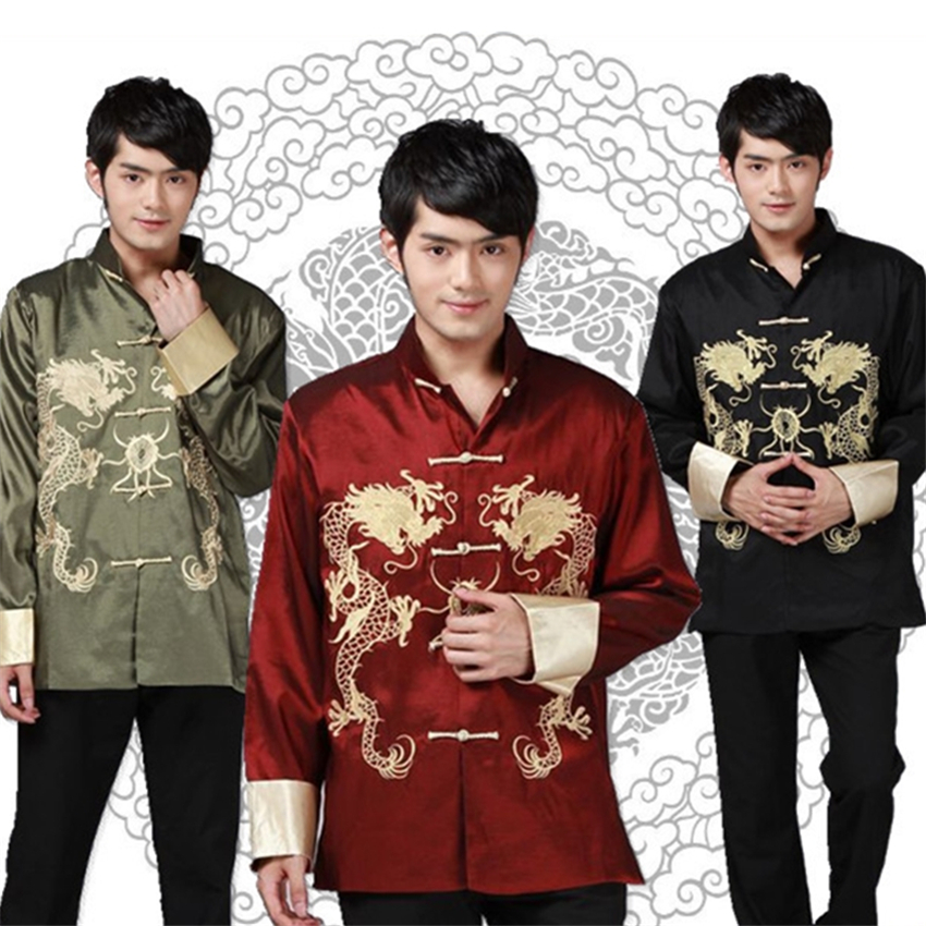 Traditional Chinese Clothes Men's Blouse Print Dragon Tang Suit Embroidery Kong Fu Costume for Man Chinese New Year Top Clothing