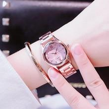цена на Luxury Rose Gold Watch Women 2019 Fashion Ladies Dress Quartz Wrist Watches Steel Waterproof Rhinestone Female Clock Reloj Mujer
