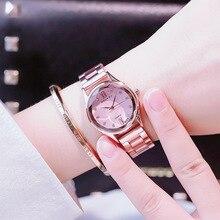 цена на fashion quartz ladies dress wrist watches luxury rose gold watch women steel waterproof rhinestone female clock reloj mujer 2018