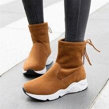 Hemmyi Новый Женские ботинки зимние с круглым носком Модные теплые зимние сапоги BOTAS обувь до середины икры Bottine Femme