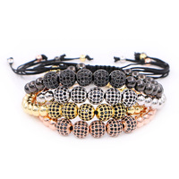 Brand Anil Arjandas Men Bracelets 8mm Gold Pave Setting Black CZ Beads Braiding Macrame Bracelet For