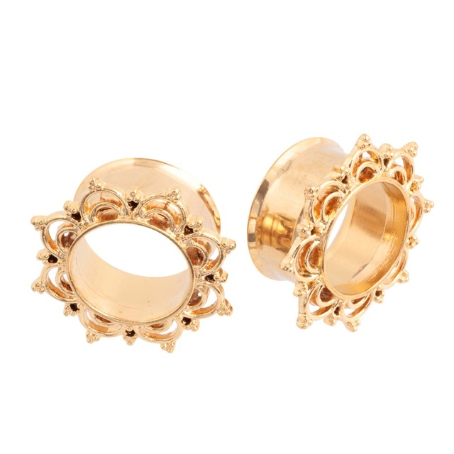 Aliexpress buy 2pcs lotus flower design double flared gold 2pcs lotus flower design double flared gold brass ear plugs and tunnels piercings ear stretchers gauges mightylinksfo
