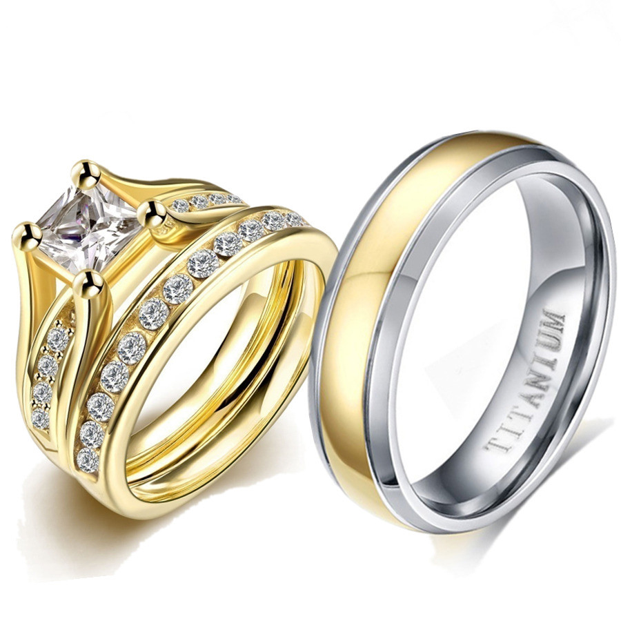 Pure TitaniumRings Couple Luxury Gold Cubic Zirconia Rings SetVintage EngagementWedding Bands Love Gift Godly Jewels2019