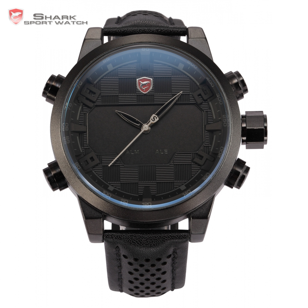 2016 Shark Sport Watch LED Digital Dual Time Stainless Steel Auto Date Alarm Leather Band Black Male Clock Men Relojes / SH206 shark sport watch black dual time zone quartz led display alarm auto date leather strap band military men digital watches sh234