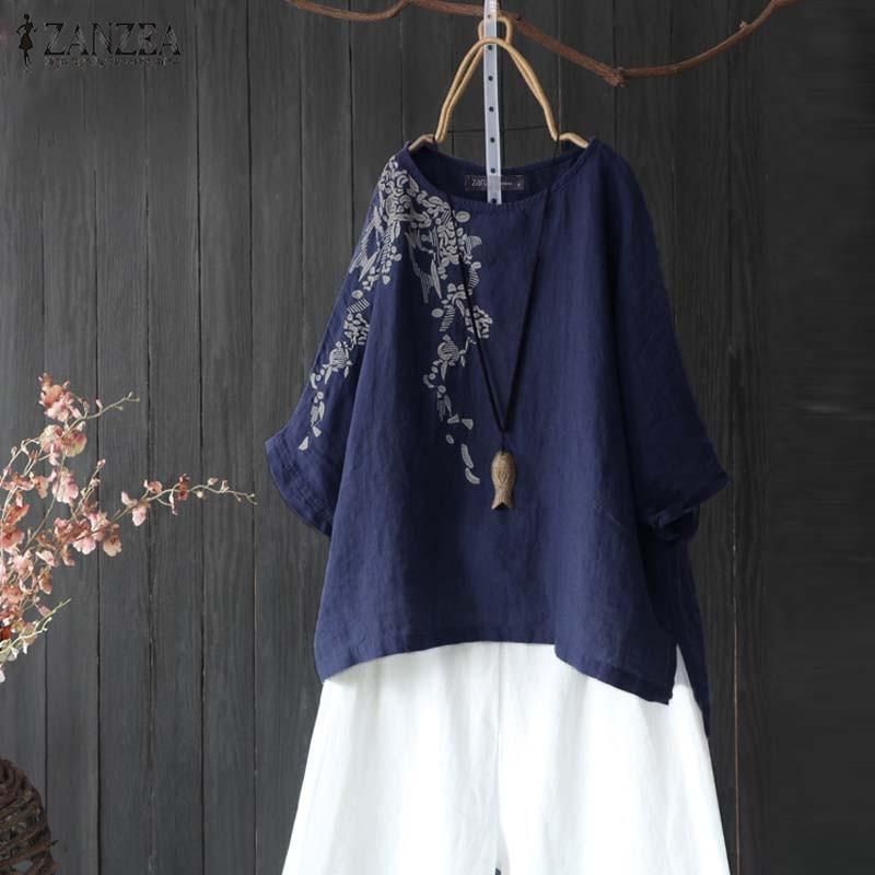 ZANZEA Plus Size Women Blouses Shirts Casual Cotton Embroidery Tunic 2019 Autumn Office Lady Work Tops Female Blusas Chemise