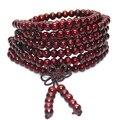 6mm Natural Sandalwood Buddhist Buddha Meditation 108 beads Wood Prayer Bead Mala Bracelet Women Men jewelry Free shipping
