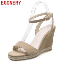EGONERY leather sandals summer autumn 2017 good quality platform wedges high heel ladies fashion pumps heels open toe sandals