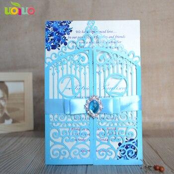 DIY 25set customize inc163 laser cut wedding invitation card sky blue,tied bow white,big rhinestone,printing card,envelope seal