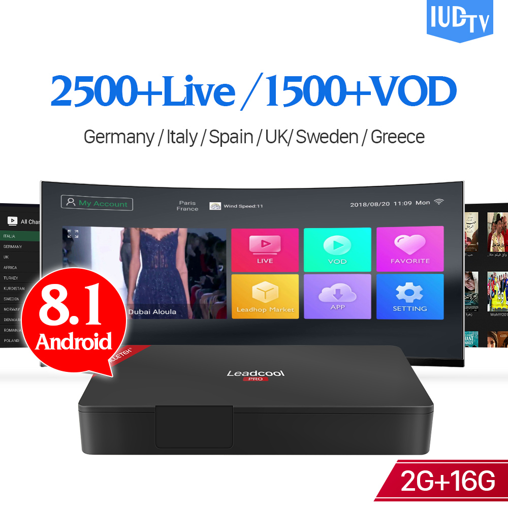 Leadcool Pro IUDTV IPTV Spain subscription 1 Year Android 8.1 Europe Box RK3229 2G 16G with IPTV Italy Sweden Arabic Spain IP TVLeadcool Pro IUDTV IPTV Spain subscription 1 Year Android 8.1 Europe Box RK3229 2G 16G with IPTV Italy Sweden Arabic Spain IP TV