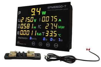 EPM6600-T 20A/6kw watt meter /test  voltage/ current /power /power factor /kwh/frequency/Carbon emissions/energy/temperature