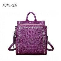 Women's leather bag 2018 new luxury crocodile backpack