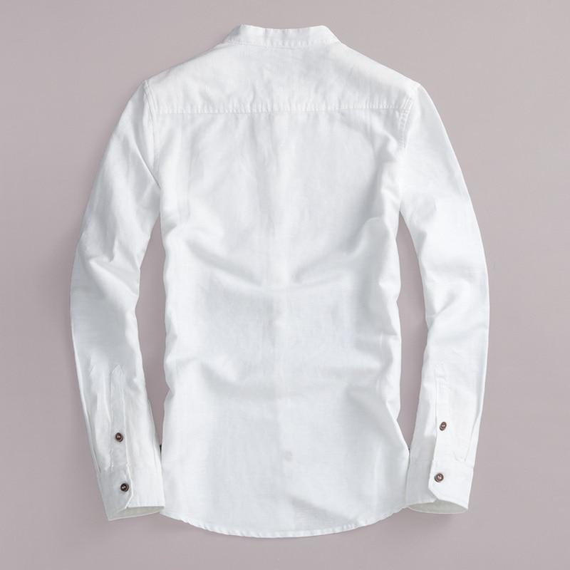 2017 Naturlig langærmet shirt mænd linned hvid stativ krave casual - Herretøj - Foto 2