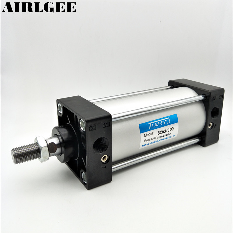 SC63x100 Single Rod Double Action 63mm Bore 100mm Stroke Pneumatic Air Cylinder mgpm63 200 smc thin three axis cylinder with rod air cylinder pneumatic air tools mgpm series mgpm 63 200 63 200 63x200 model