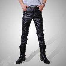 HOT 2015 Men Male Slim Fit Pants Good Quality Faux Leather Motorcycle Casual Long Trousers 3 Colors Size M~XXXL
