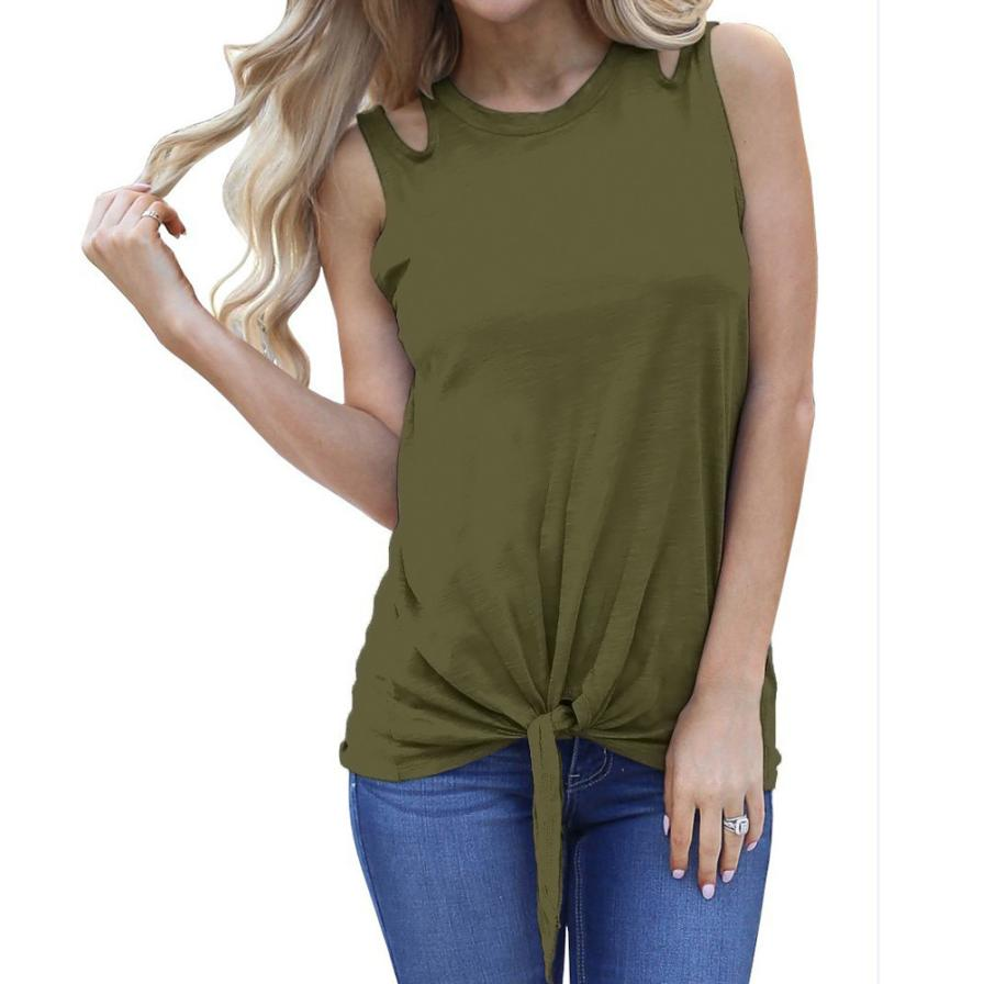 feitong 2018 Hot Sale New Arrival Summer Women Fashion Sexy Bandage Sleeveless Plain Cut Off Shoulder Shirt Tie Front Tank Tops