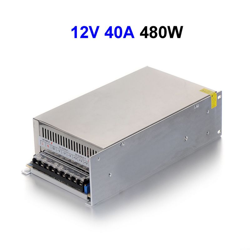 DC12V 40A 480W Switching Power Supply Adapter Driver Transformer For 5050 5730 5630 3528 LED Rigid Strip Light 15pcs dc12v 30a 360w switching power supply adapter driver transformer for cctv security cameras lcd monitor