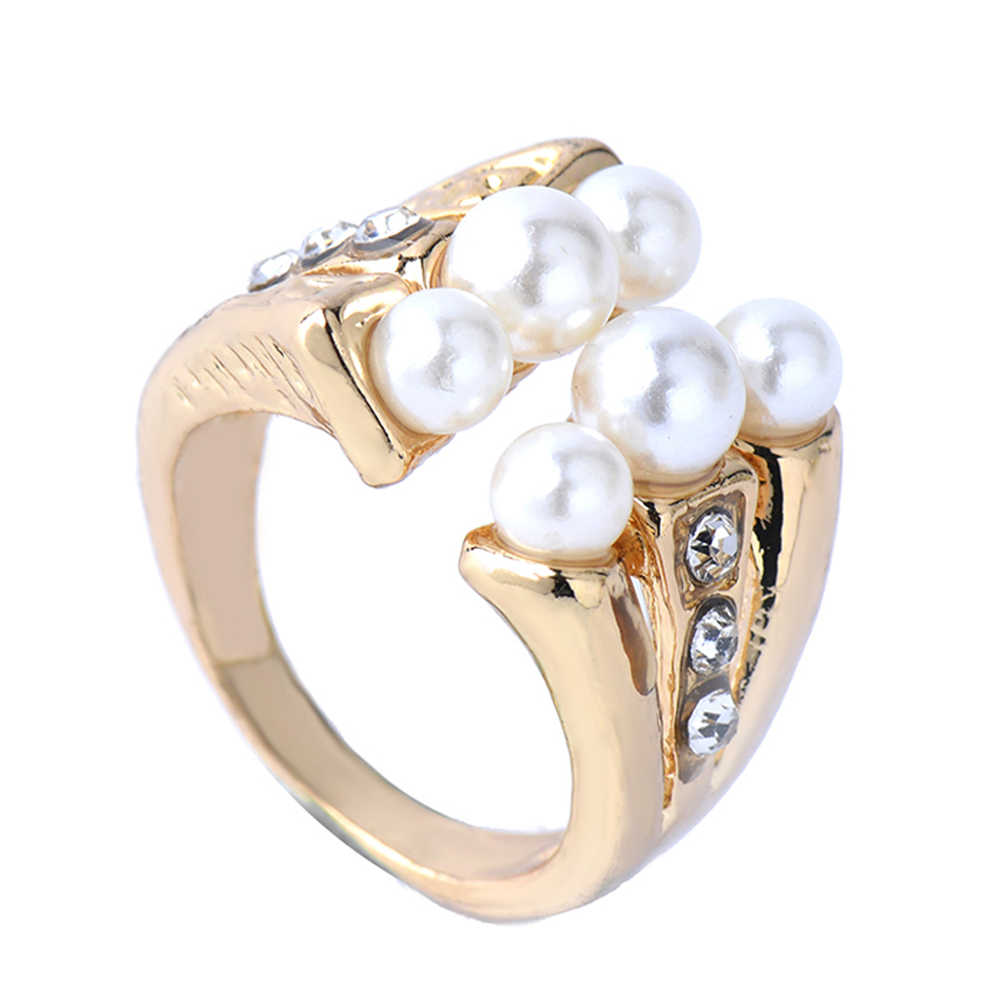 Fashion Silver Jewelry Ring Retro Pearl Jewelry Ring For Women Wedding  Party Vintage Punk Ring Size 7-9 High quality Free ship