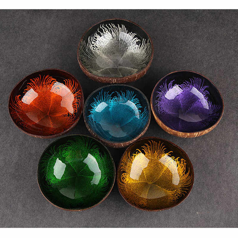 1Pc Food Container Natural Coconut Shell Bowl Dishes Kitchen Storage Trays Desktop Debris Organiser Handmade Paint Craft Decor