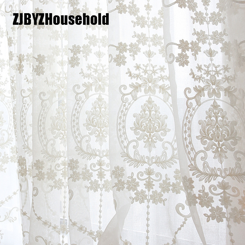 Voile Curtains Flower Embroidery Tulle Sheer Bedroom Living-Room White European-Style